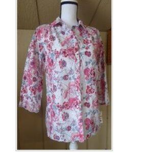 Charter Club Women's Floral Print Eyelet  Shirt, S